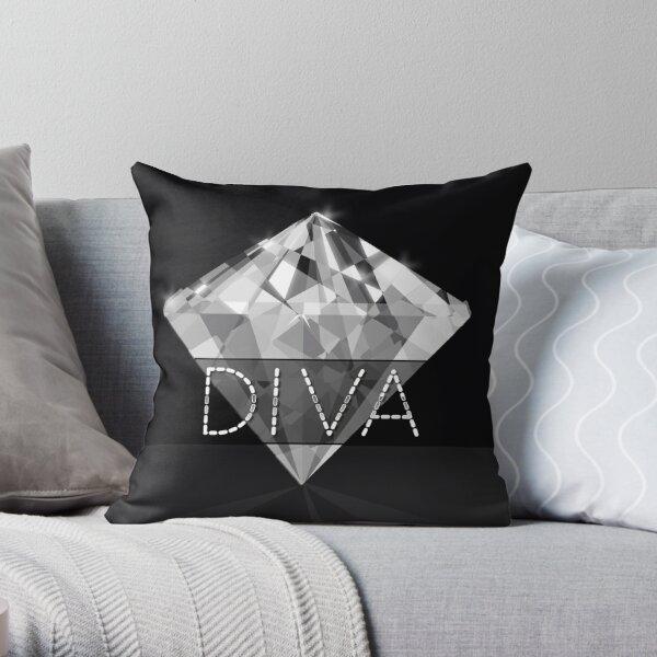 Black Diva Diamond Bling  Throw Pillow