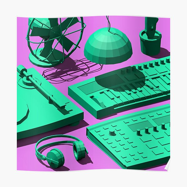 Low Poly Studio Objects 3D Illustration Poster