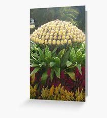 Flowers happily dancing around beautiful yellow mushroom Greeting Card