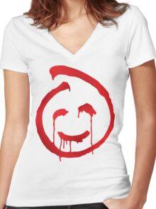 Red John smiley symbol Women's Fitted V-Neck T-Shirt