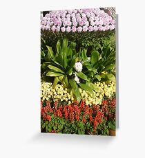 Moo Moo playing in beatiful flowers Greeting Card