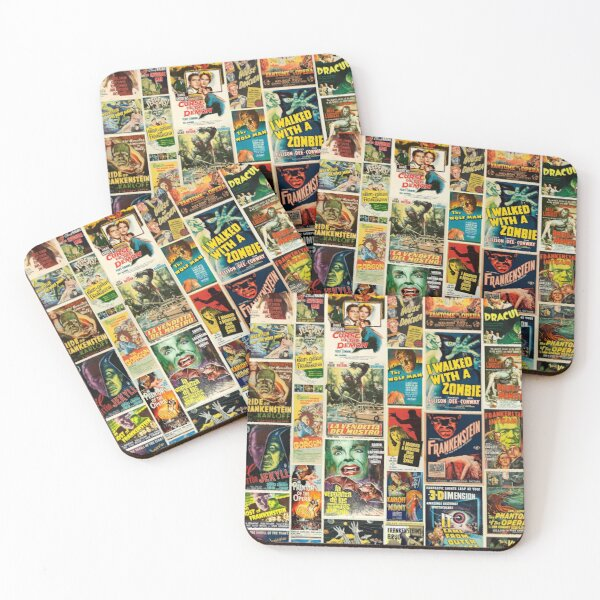 Classic Horror Movie Poster Montage Coasters (Set of 4)