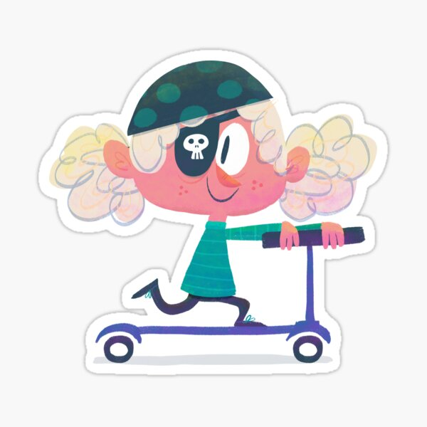 Scooter Cartoon Rebel Girl with Pirate Eye Patch Sticker