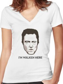 "Christopher Walken - ""Walken Here"" T-Shirt Women's Fitted V-Neck T-Shirt"