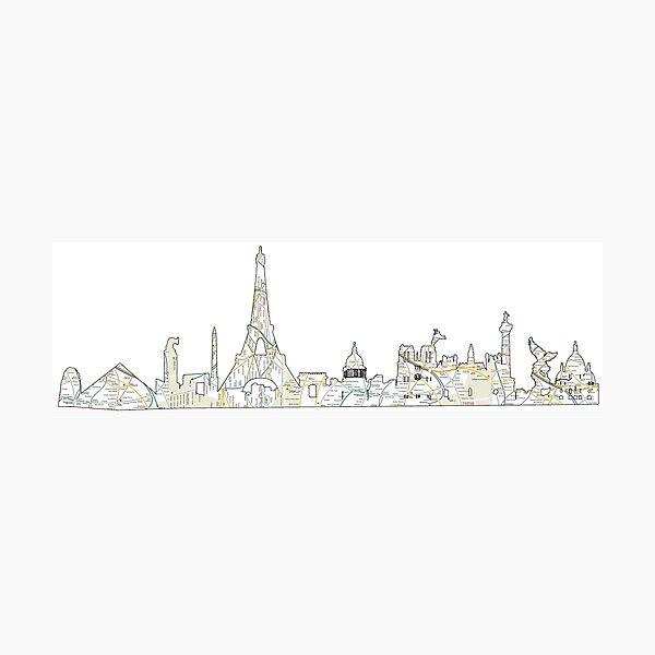 the Paris Metro system with the Paris skyline Paris, France, subway map Photographic Print