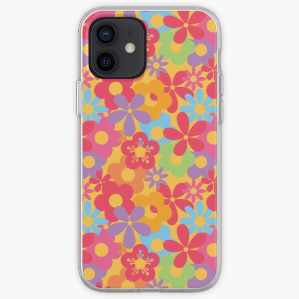 Colorful Flower Power Seamless Pattern Print iPhone Soft Case