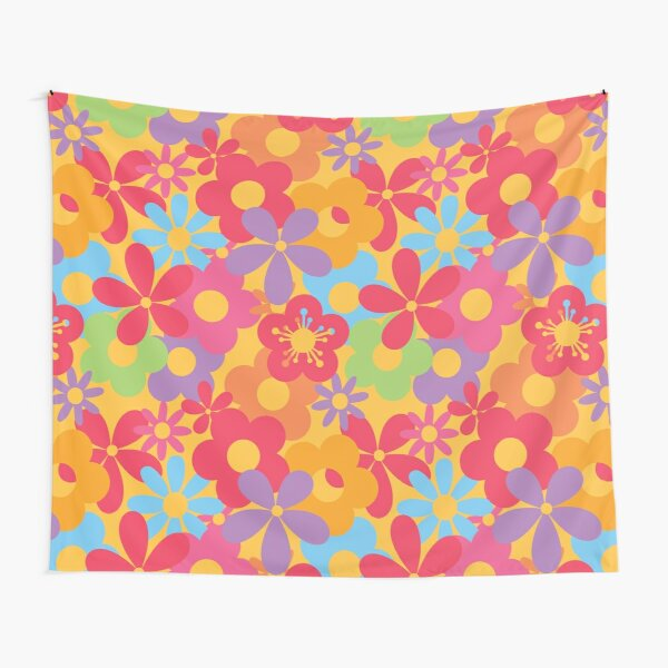 Colorful Flower Power Seamless Pattern Print Tapestry