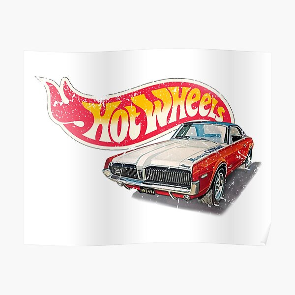 Authentic Vintage, Distressed Hot Wheels 1968 Custom Cougar Poster