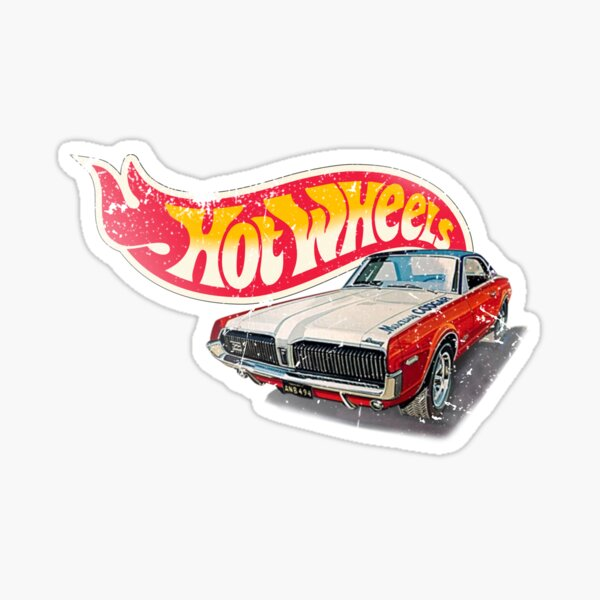 Authentic Vintage, Distressed Hot Wheels 1968 Custom Cougar Sticker