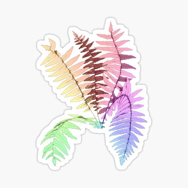 Pastel Rainbow Ferns Sticker