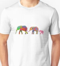 3 Colorful Elephants Holding Tails - Pop Art T-Shirt