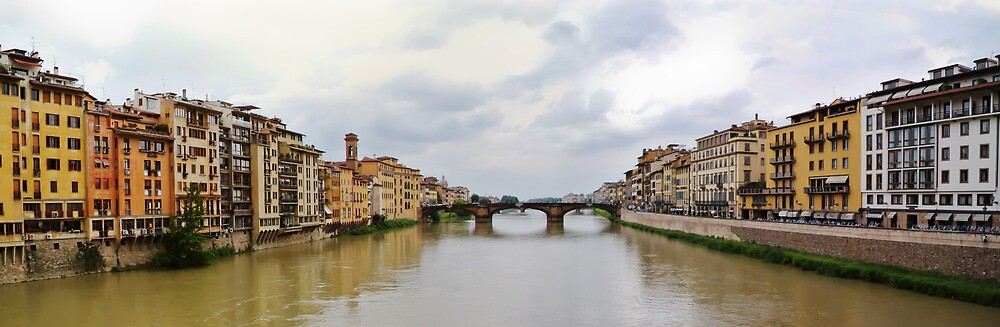 Arno River in Florence Italy Panorama by Roger Mullenhour