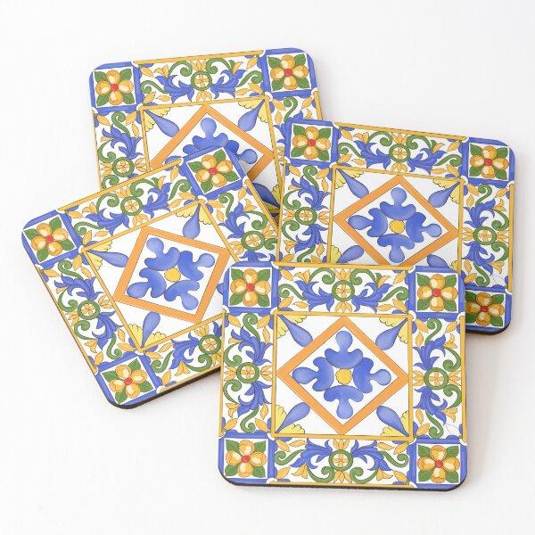 Citrus,Sicilian style summer decor  Coasters (Set of 4)