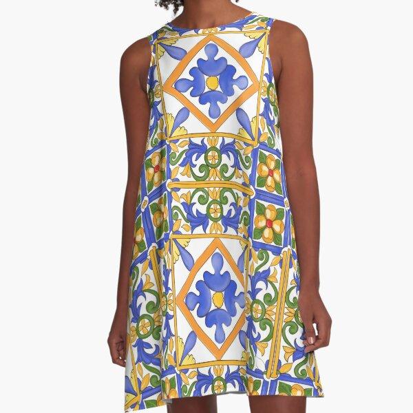 Citrus,Sicilian style summer decor pattern A-Line Dress