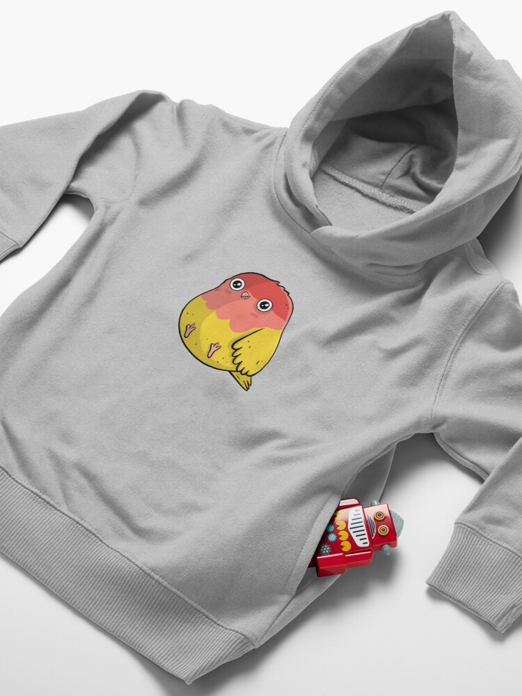 Alternate view of Cute Lutino Lovebird Chubby Bird Design Toddler Pullover Hoodie