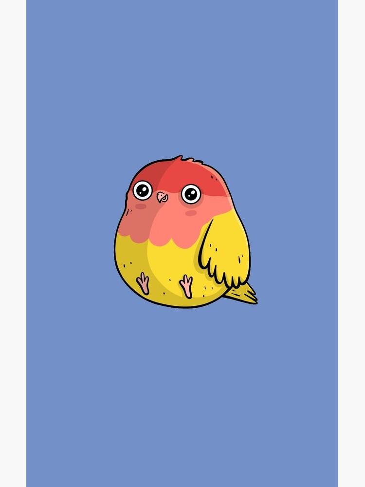 Cute Lutino Lovebird Chubby Bird Design by piratart