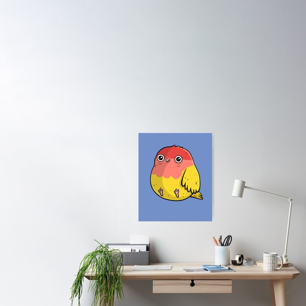 Cute Lutino Lovebird Chubby Bird Design Poster