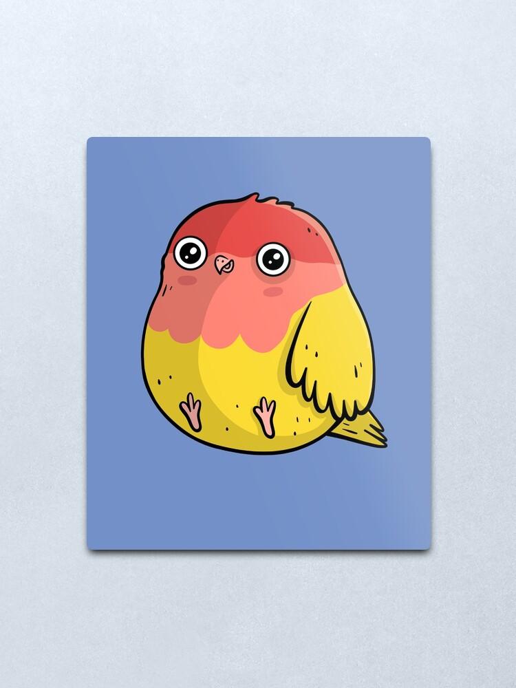 Alternate view of Cute Lutino Lovebird Chubby Bird Design Metal Print