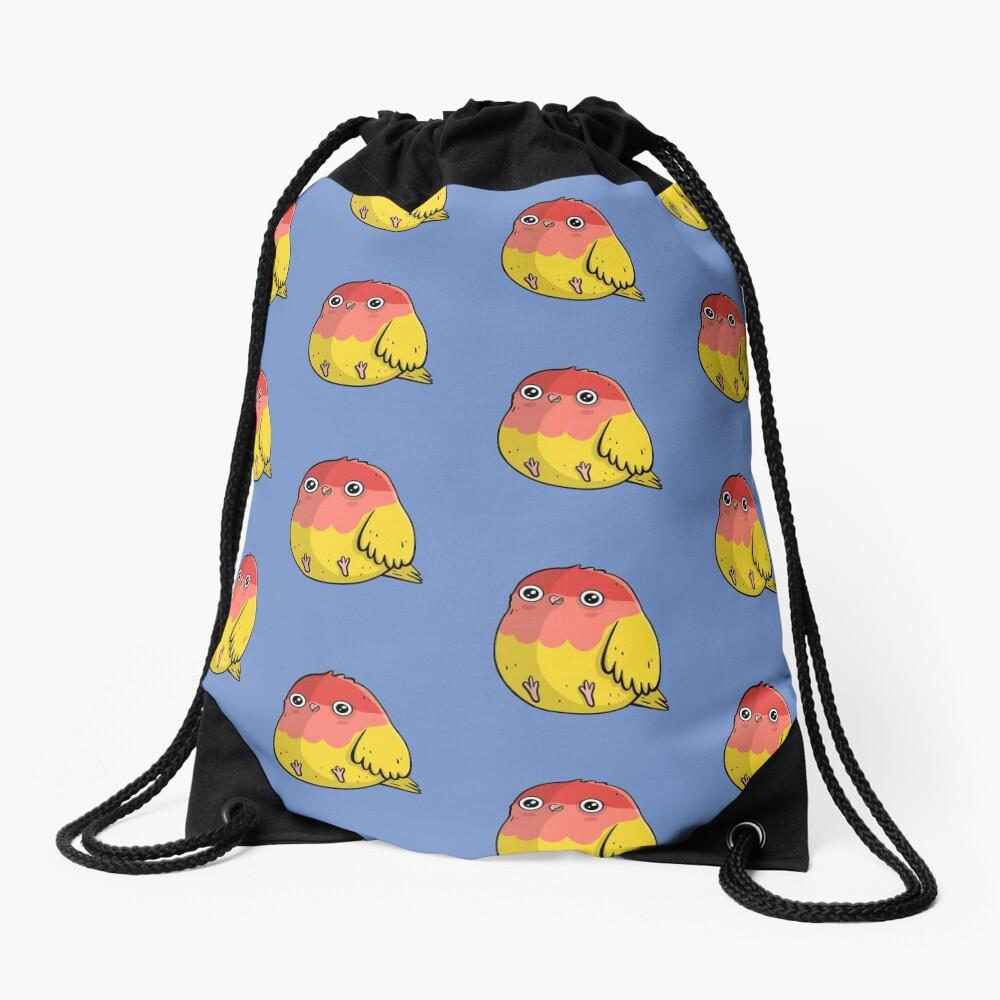 Cute Lutino Lovebird Chubby Bird Design Drawstring Bag
