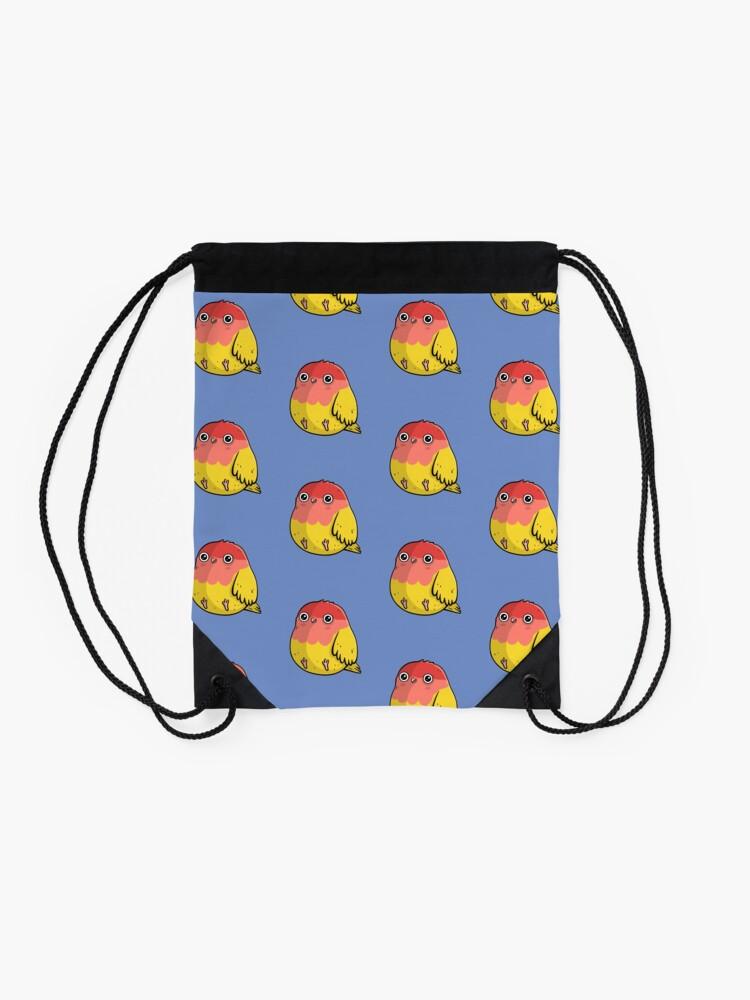Alternate view of Cute Lutino Lovebird Chubby Bird Design Drawstring Bag