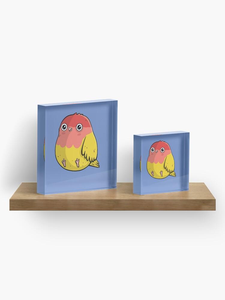 Alternate view of Cute Lutino Lovebird Chubby Bird Design Acrylic Block