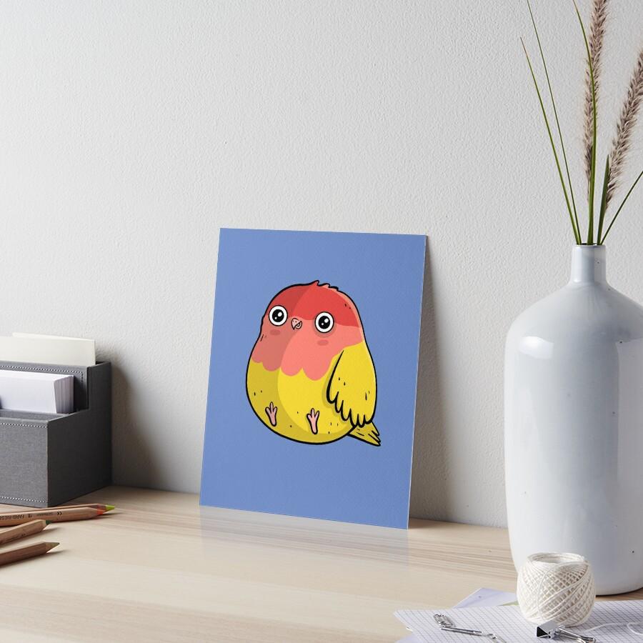 Cute Lutino Lovebird Chubby Bird Design Art Board Print