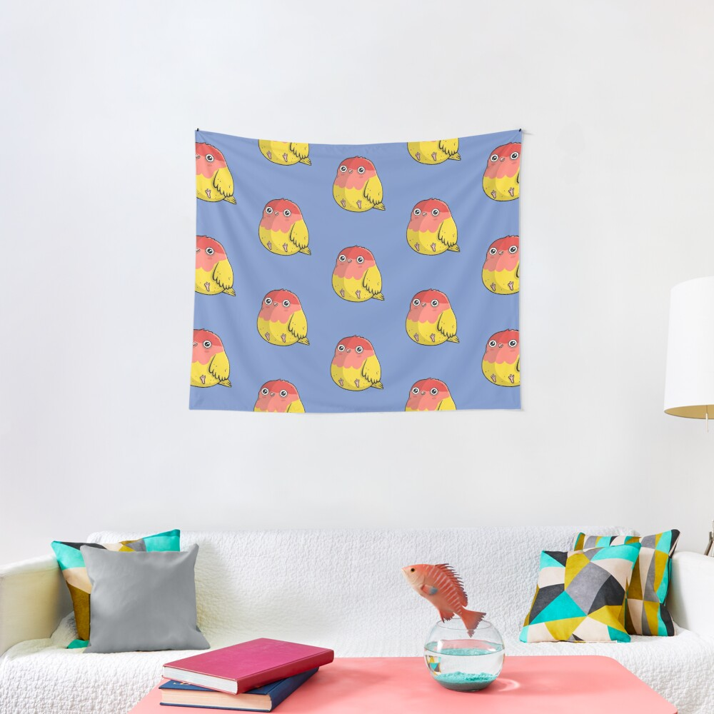 Cute Lutino Lovebird Chubby Bird Design Tapestry