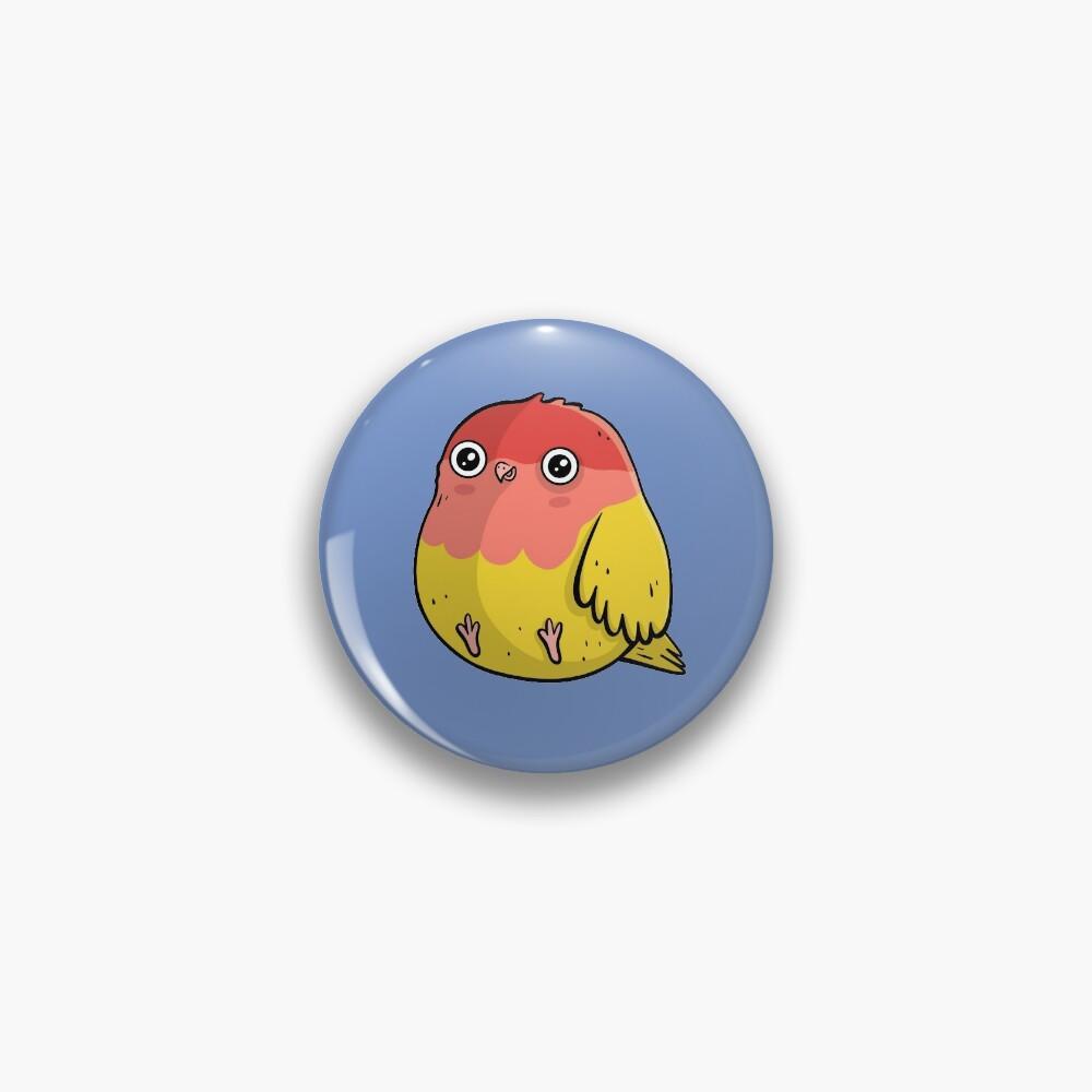 Cute Lutino Lovebird Chubby Bird Design Pin