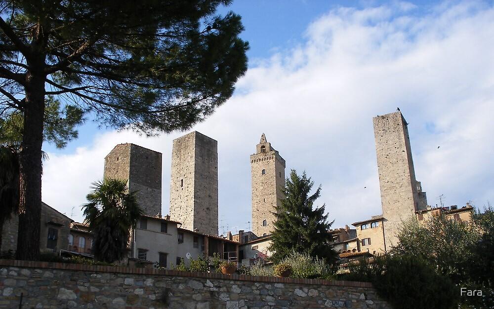 The Approach To San Gimignano by Fara