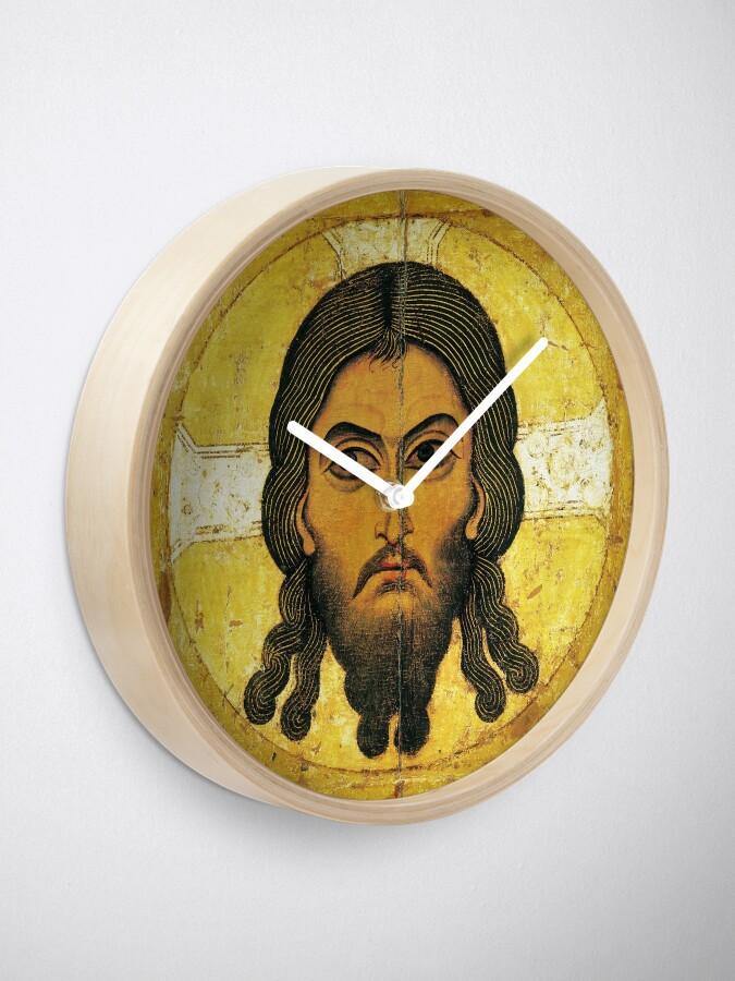 Alternate view of «Спас Нерукотворный» — новгородская икона XII века. The Saviour Not Made by Hands, a Novgorodian icon from c. 1100 Clock