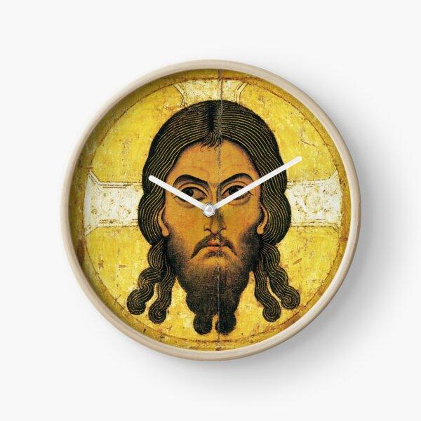 «Спас Нерукотворный» — новгородская икона XII века. The Saviour Not Made by Hands, a Novgorodian icon from c. 1100 Clock