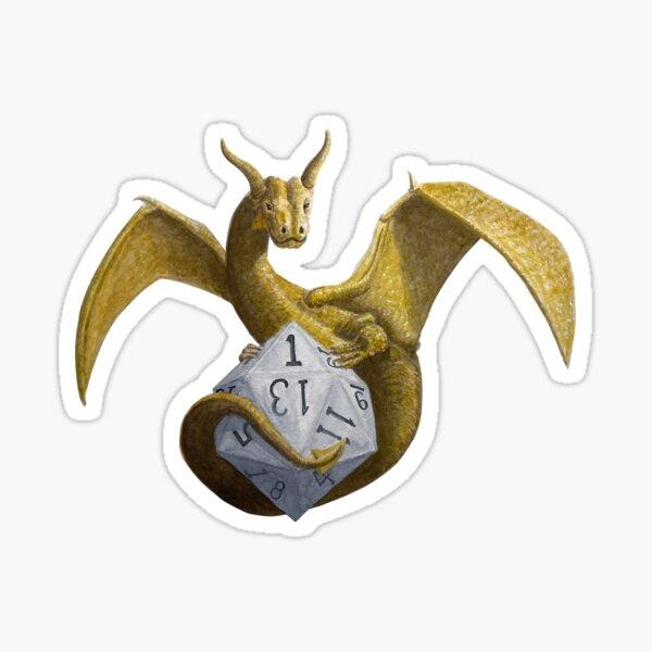Bronze Dragon On Silver D20 Sticker