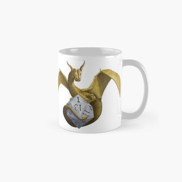 Bronze Dragon On Silver D20 Classic Mug