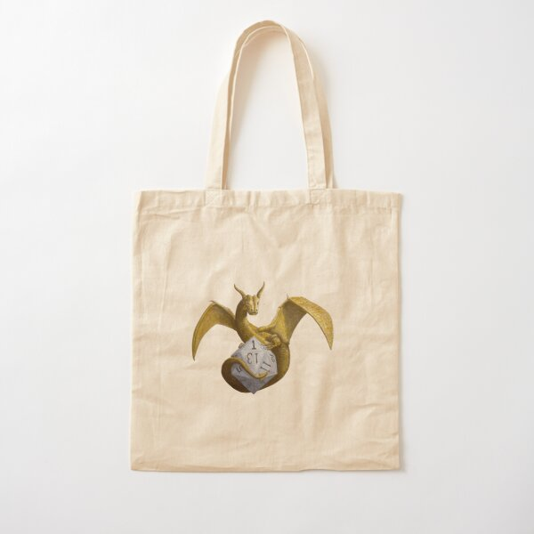 Bronze Dragon On Silver D20 Cotton Tote Bag