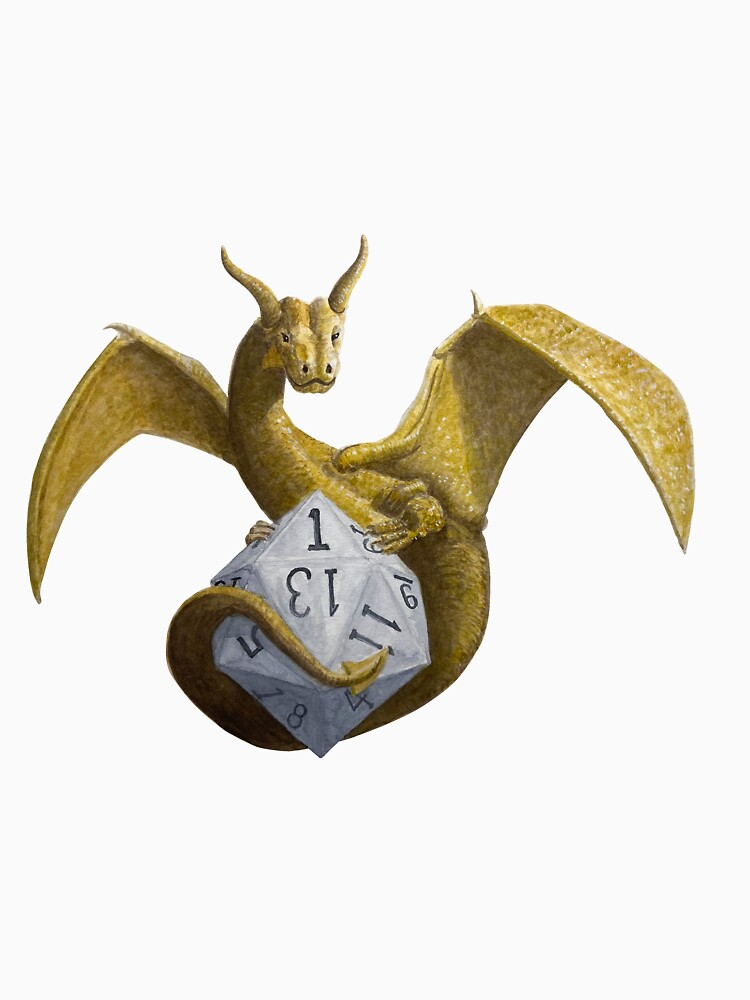 Bronze Dragon On Silver D20 by RescuedByDragon