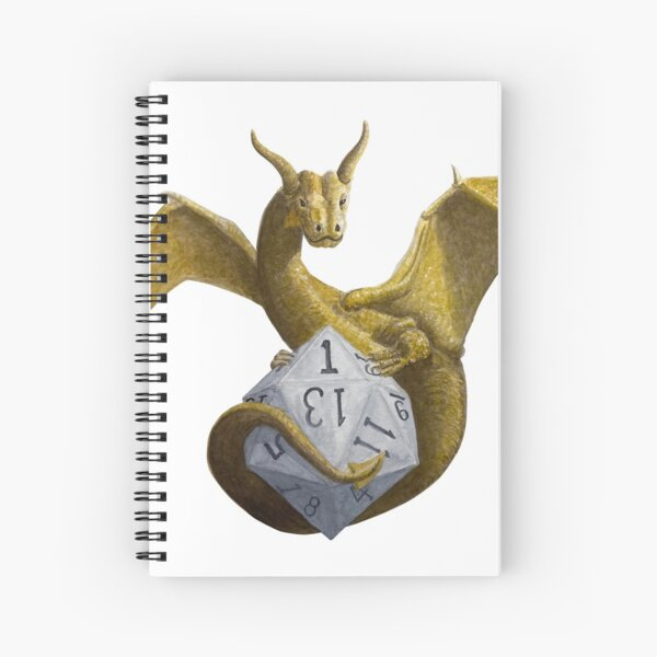 Bronze Dragon On Silver D20 Spiral Notebook