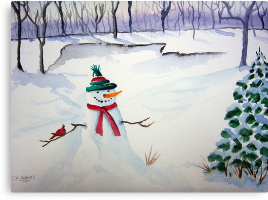 Snowman and Cardinal by Mitch Adams
