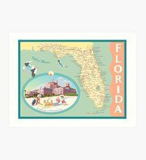 Florida Map with Don CeSar Hotel Art Print