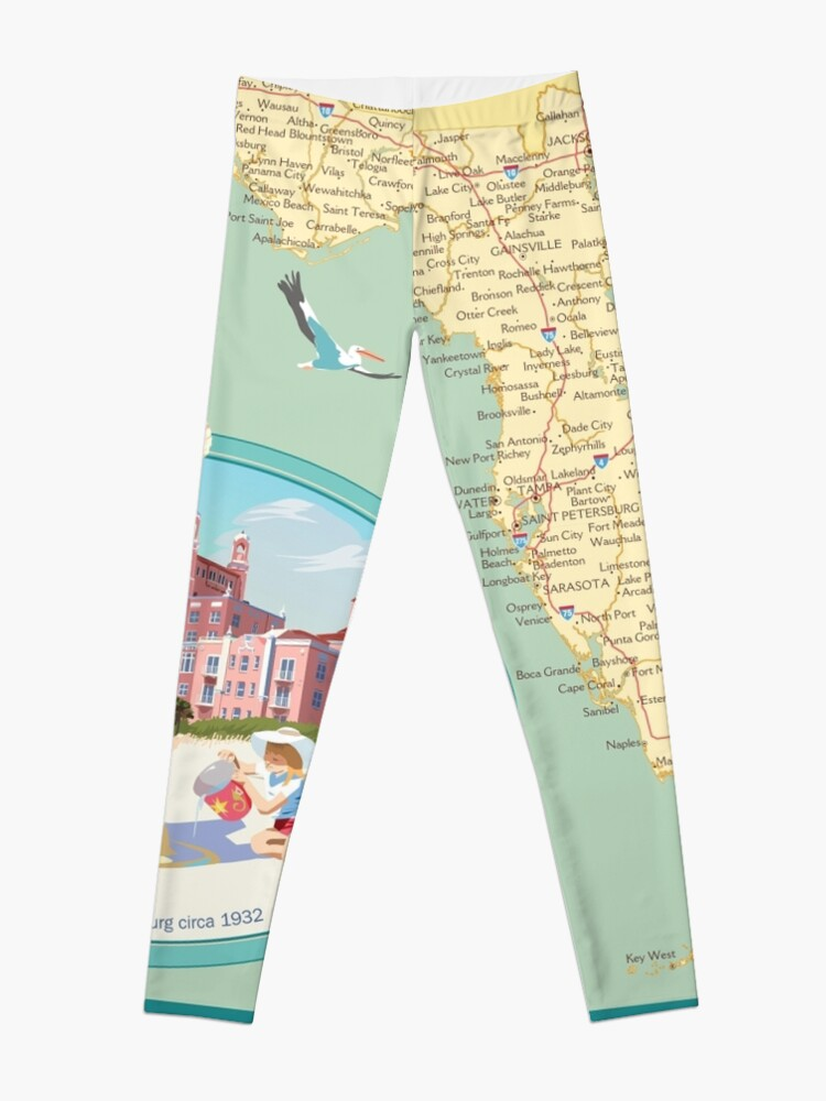 Florida Hotel Map.Florida Map With Don Cesar Hotel Leggings