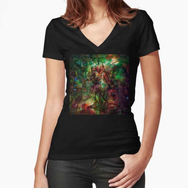 When The Stars Are Right - The Heart and Soul Nebulae in Cassiopeia Fitted V-Neck T-Shirt