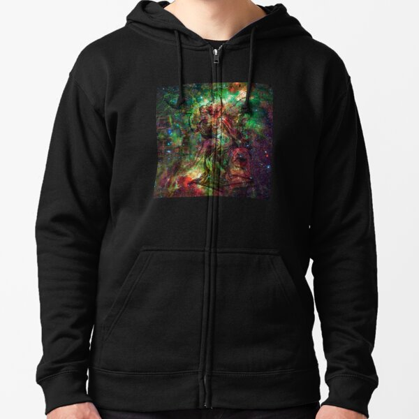 When The Stars Are Right - The Heart and Soul Nebulae in Cassiopeia Zipped Hoodie