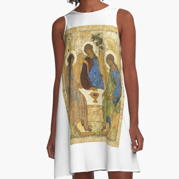 Holy Trinity, Hospitality of Abraham; by Andrei Rublev; tempera on panel; Tretyakov Gallery (Moscow) A-Line Dress