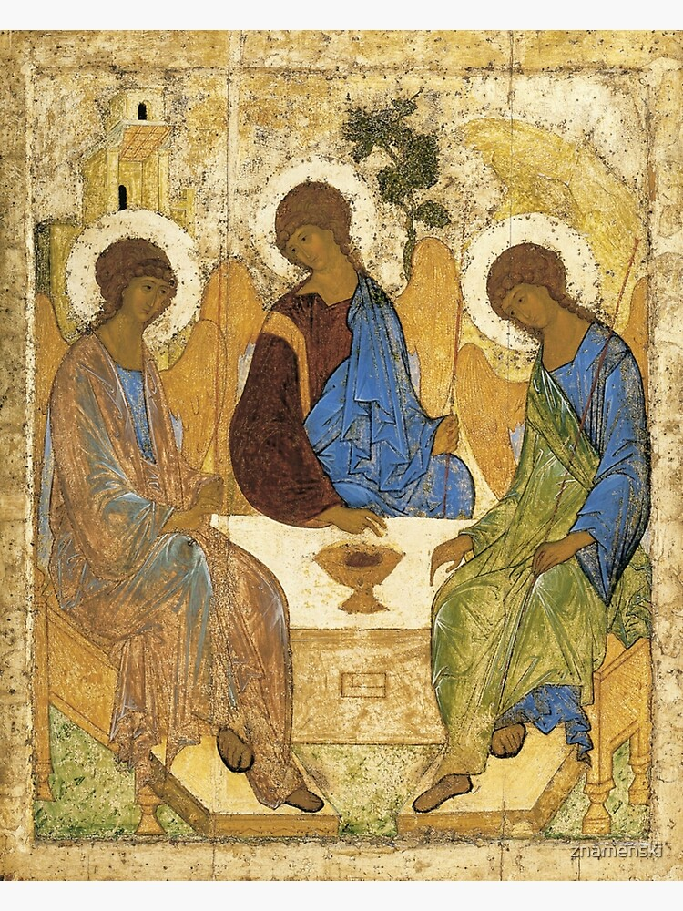 Holy Trinity, Hospitality of Abraham; by Andrei Rublev; tempera on panel; Tretyakov Gallery (Moscow) by znamenski