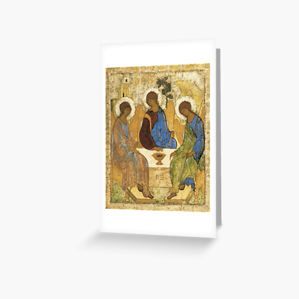 Holy Trinity, Hospitality of Abraham; by Andrei Rublev; tempera on panel; Tretyakov Gallery (Moscow) Greeting Card