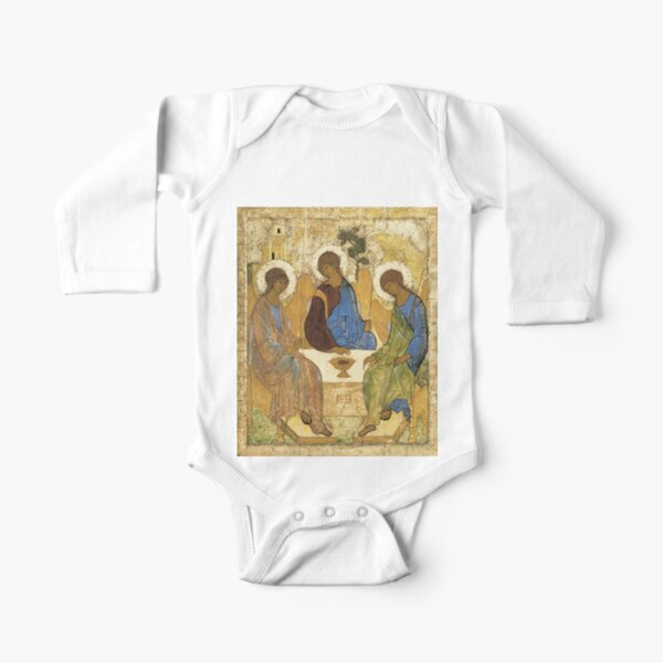 Holy Trinity, Hospitality of Abraham; by Andrei Rublev; tempera on panel; Tretyakov Gallery (Moscow) Long Sleeve Baby One-Piece