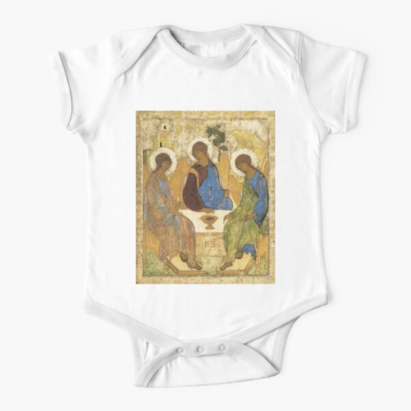 Holy Trinity, Hospitality of Abraham; by Andrei Rublev; tempera on panel; Tretyakov Gallery (Moscow) Short Sleeve Baby One-Piece