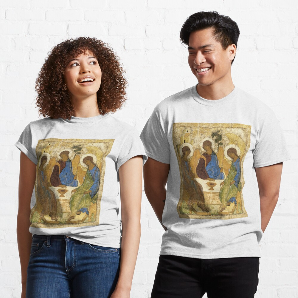 Holy Trinity, Hospitality of Abraham; by Andrei Rublev; tempera on panel; Tretyakov Gallery (Moscow) Classic T-Shirt