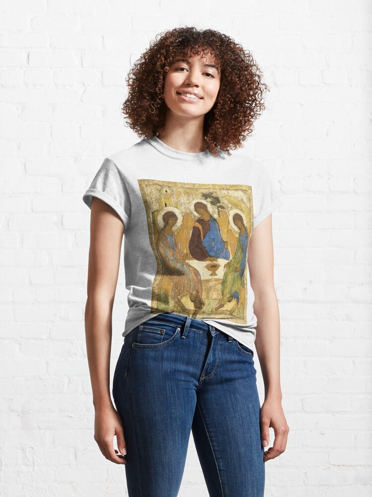 Alternate view of Holy Trinity, Hospitality of Abraham; by Andrei Rublev; tempera on panel; Tretyakov Gallery (Moscow) Classic T-Shirt