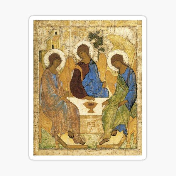 Holy Trinity, Hospitality of Abraham; by Andrei Rublev; tempera on panel; Tretyakov Gallery (Moscow) Sticker