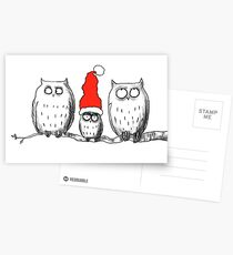 Small Christmas owl group Postcards